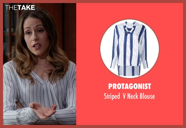 Protagonist blue blouse from Silicon Valley seen with Monica (Amanda Crew)
