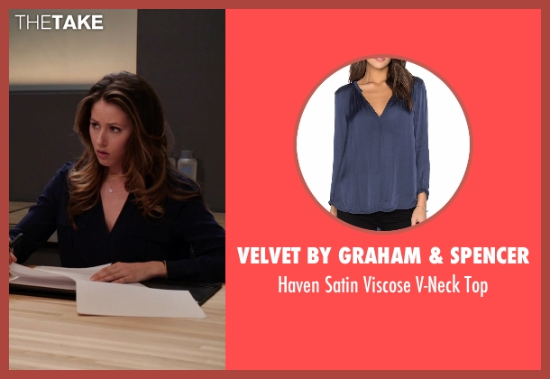 Velvet By Graham & Spencer blue top from Silicon Valley seen with Monica (Amanda Crew)