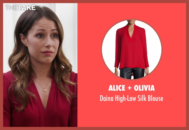 Alice + Olivia red blouse from Silicon Valley seen with Monica (Amanda Crew)