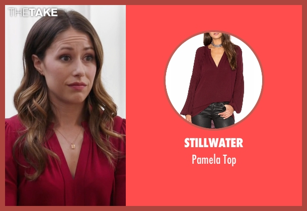 Stillwater red top from Silicon Valley seen with Monica (Amanda Crew)