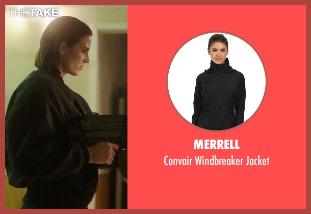 Merrell black jacket from American Ultra seen with Monique Ganderton (Crane)