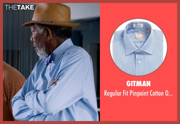 Gitman blue shirt from Dolphin Tale 2 seen with Morgan Freeman (Dr. Cameron McCarthy)