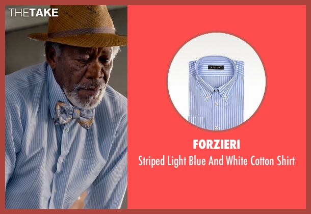 Forzieri blue shirt from Dolphin Tale 2 seen with Morgan Freeman (Dr. Cameron McCarthy)