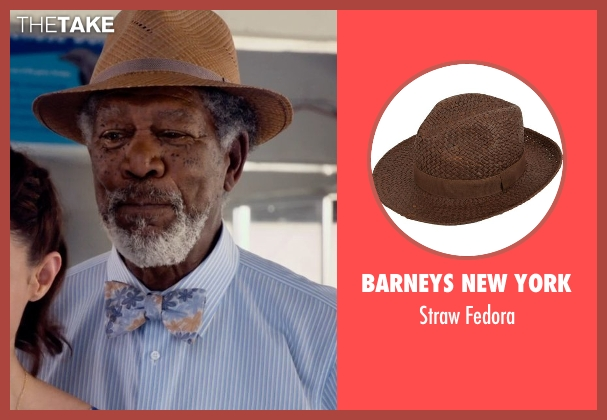 Barneys New York brown fedora from Dolphin Tale 2 seen with Morgan Freeman (Dr. Cameron McCarthy)