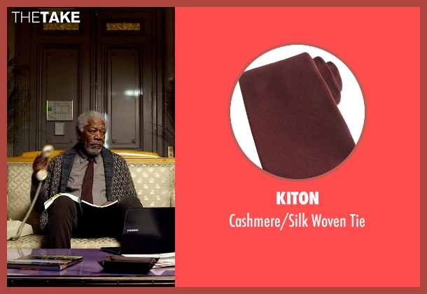 Kiton red tie from Lucy seen with Morgan Freeman (Professor Norman)