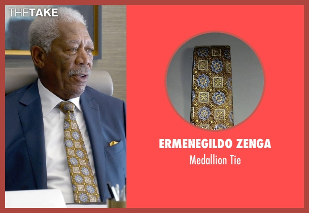 Ermenegildo Zenga green tie from Ted 2 seen with Morgan Freeman (Patrick Meighan)
