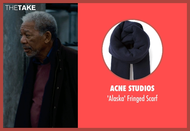 Acne Studios blue scarf from The Dark Knight Rises seen with Morgan Freeman (Fox)