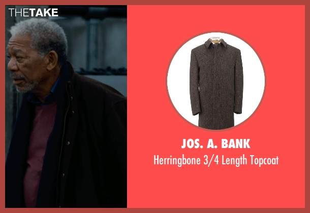 Jos. A. Bank brown topcoat from The Dark Knight Rises seen with Morgan Freeman (Fox)