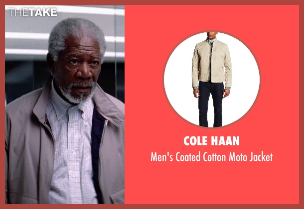 Cole Haan beige jacket from Transcendence seen with Morgan Freeman (Joseph Tagger)