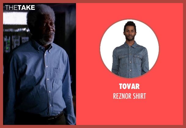 TOVAR blue shirt from Transcendence seen with Morgan Freeman (Joseph Tagger)