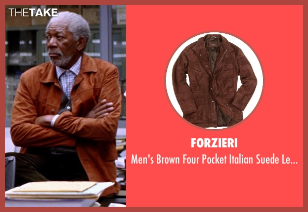 FORZIERI brown jacket from Transcendence seen with Morgan Freeman (Joseph Tagger)