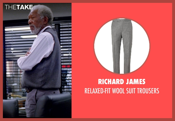 RICHARD JAMES gray trousers from Transcendence seen with Morgan Freeman (Joseph Tagger)