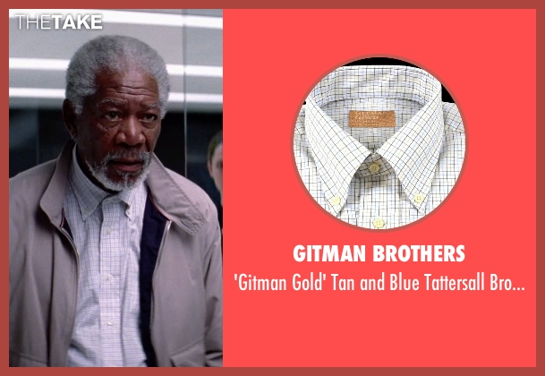 Gitman Brothers shirt from Transcendence seen with Morgan Freeman (Joseph Tagger)