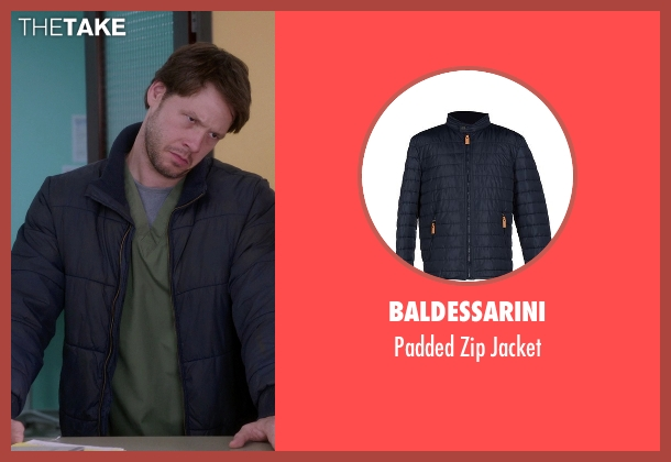 Baldessarini blue jacket from The Mindy Project seen with Morgan Tookers (Ike Barinholtz)