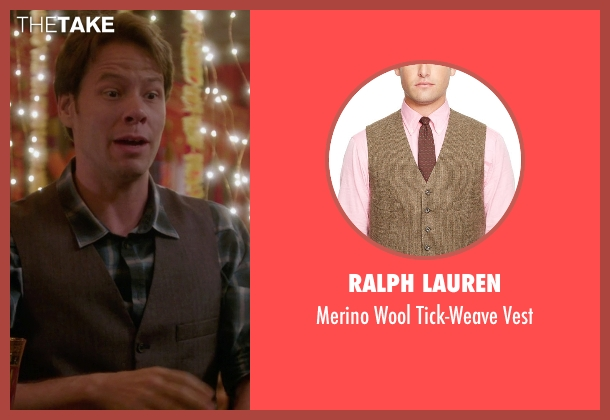 Ralph Lauren brown vest from The Mindy Project seen with Morgan Tookers (Ike Barinholtz)