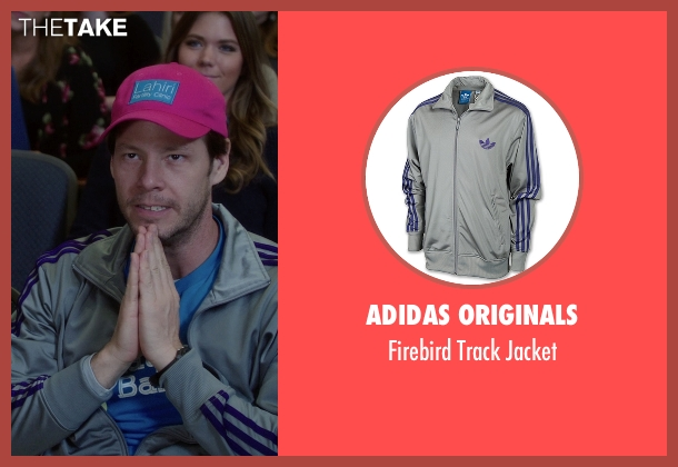 Adidas Originals gray jacket from The Mindy Project seen with Morgan Tookers (Ike Barinholtz)