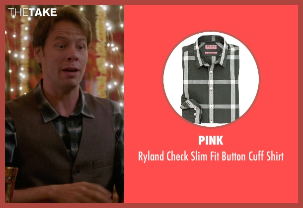 Pink green shirt from The Mindy Project seen with Morgan Tookers (Ike Barinholtz)