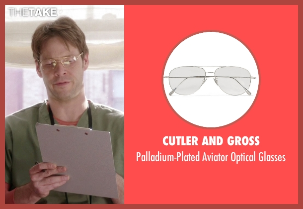 Cutler and Gross silver glasses from The Mindy Project seen with Morgan Tookers (Ike Barinholtz)