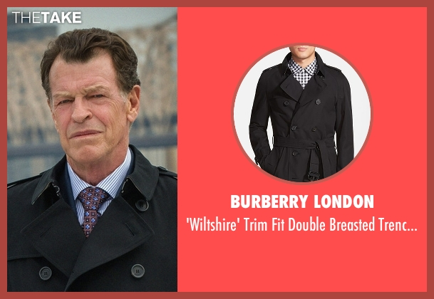 Burberry London black coat from Elementary seen with Morland Holmes (John Noble)