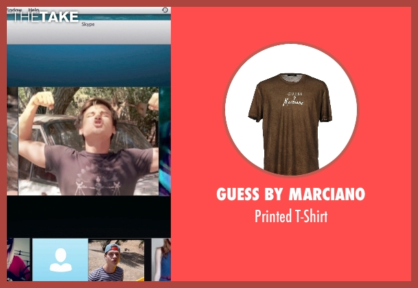 Guess by Marciano brown t-shirt from Unfriended seen with Moses Jacob Storm (Mitch)
