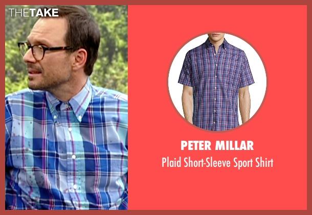 Peter Millar blue shirt from Mr. Robot seen with Mr. Robot (Christian Slater)