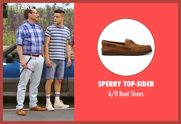 Sperry Top-Sider brown shoes from Mr. Robot seen with Mr. Robot (Christian Slater)