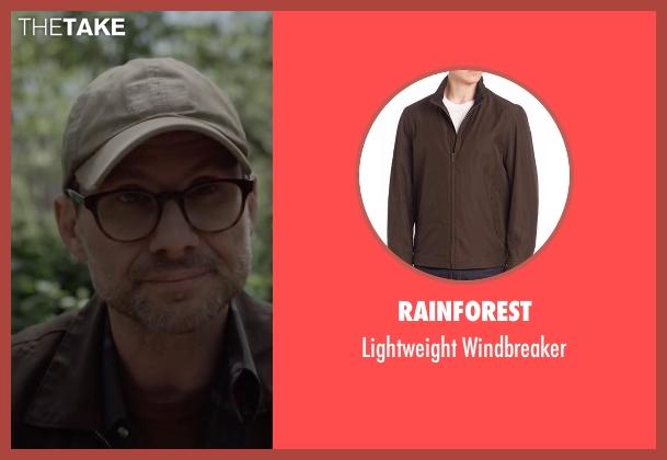 Rainforest brown windbreaker from Mr. Robot seen with Mr. Robot (Christian Slater)