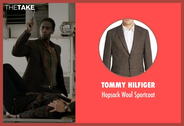 Tommy Hilfiger brown sportcoat from The Blacklist seen with Mr. Solomon (Edi Gathegi)