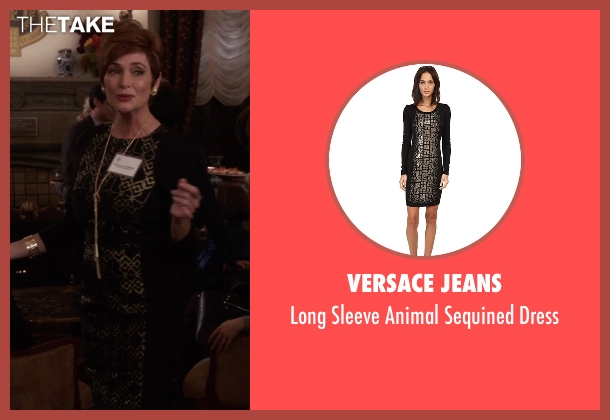 Versace Jeans black dress from The Mindy Project seen with Mrs. Guterman (Carolyn Hennesy)