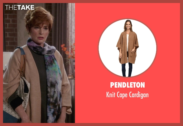 Pendleton brown cardigan from The Mindy Project seen with Mrs. Guterman (Carolyn Hennesy)