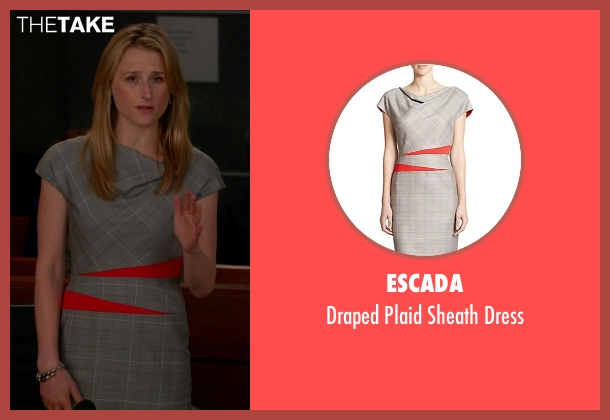 Escada gray dress from The Good Wife seen with Nancy Crozier (Mamie Gummer)