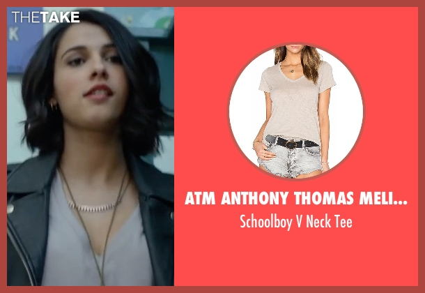 ATM Anthony Thomas Melillo beige tee from Power Rangers seen with Naomi Scott (Kimberly Hart / Pink Ranger)