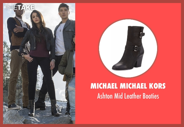 Michael Michael Kors black booties from Power Rangers seen with Naomi Scott (Kimberly Hart / Pink Ranger)