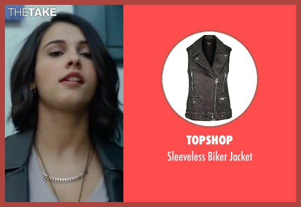Topshop black jacket from Power Rangers seen with Naomi Scott (Kimberly Hart / Pink Ranger)