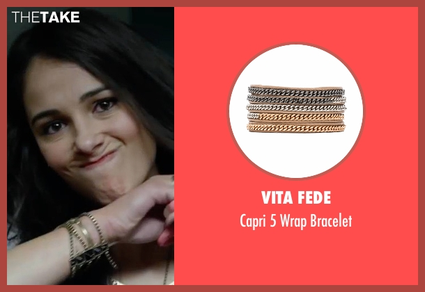 Vita Fede gold bracelet from Power Rangers seen with Naomi Scott (Kimberly Hart / Pink Ranger)