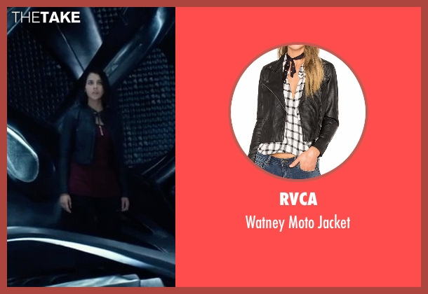 RVCA black jacket from Power Rangers seen with Naomi Scott (Kimberly Hart / Pink Ranger)