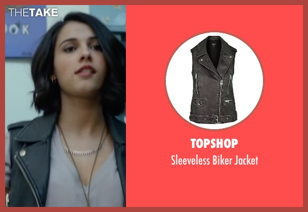 Topshop black jacket from Power Rangers seen with Naomi Scott (Kimberly Hart / Pink Ranger)