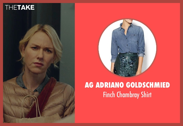 AG Adriano Goldschmied blue shirt from While We're Young seen with Naomi Watts (Cornelia)
