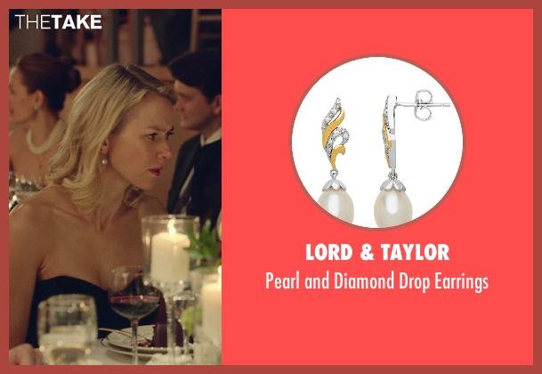 Lord & Taylor silver earrings from While We're Young seen with Naomi Watts (Cornelia)