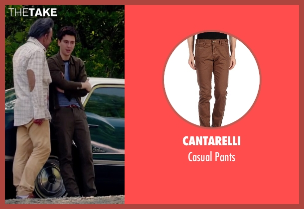 Cantarelli brown pants from Ashby seen with Nat Wolff (Ed Wallis)