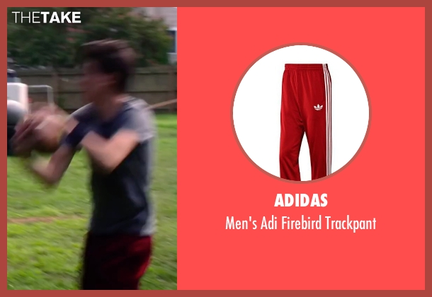 Adidas red trackpant from Ashby seen with Nat Wolff (Ed Wallis)