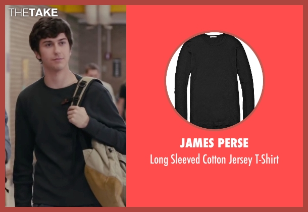 James Perse black t-shirt from Paper Towns seen with Nat Wolff (Quentin Jacobsen)