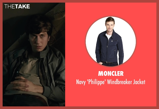Moncler blue jacket from Paper Towns seen with Nat Wolff (Quentin Jacobsen)