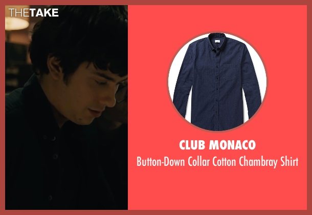 Club Monaco blue shirt from Paper Towns seen with Nat Wolff (Quentin Jacobsen)