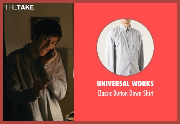 Universal Works gray shirt from Paper Towns seen with Nat Wolff (Quentin Jacobsen)