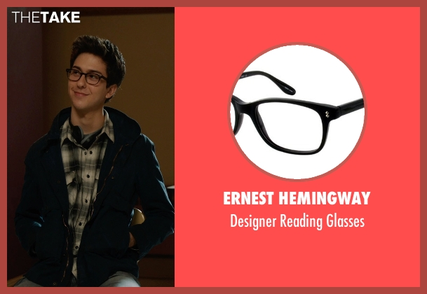 Ernest Hemingway black glasses from The Fault In Our Stars seen with Nat Wolff (Isaac)