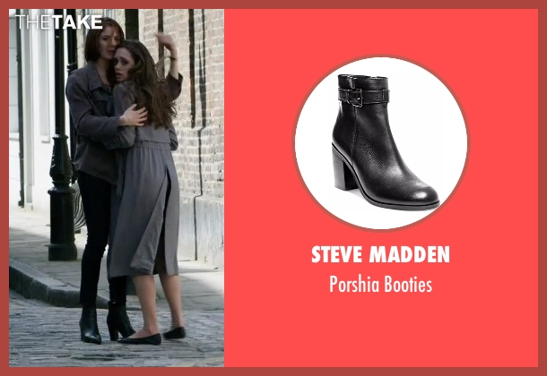 Steve Madden black booties from Guilt seen with Natalie Atwood (Emily Tremaine)