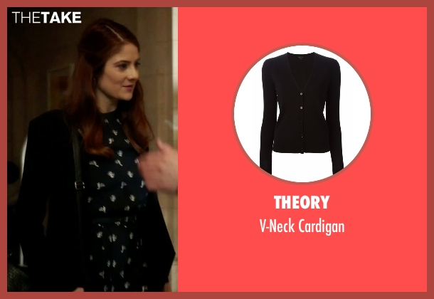 Theory black cardigan from Guilt seen with Natalie Atwood (Emily Tremaine)