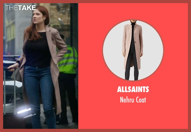 AllSaints brown coat from Guilt seen with Natalie Atwood (Emily Tremaine)