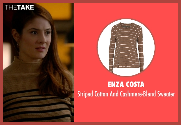 Enza Costa brown sweater from Guilt seen with Natalie Atwood (Emily Tremaine)